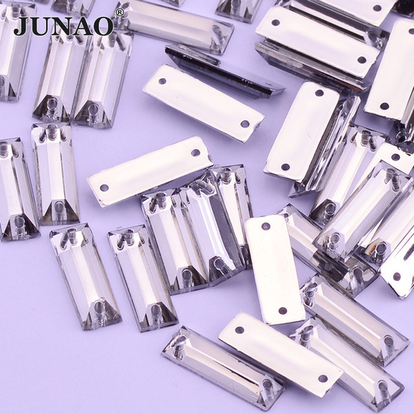 JUNAO 5*15mm Sewing Clear White Crystals Flatback Rhinestones Sew On Crystal Stones Rectangle Acrylic Strass Beads For DIY Clothes