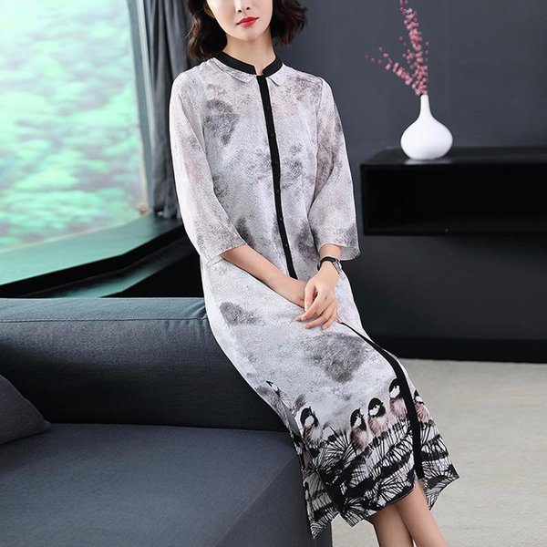 9193c69bb 100%Silk Dress New Brand Chinese Luxury Women Dress Vintage National Style  Print 3/4 Sleeve Midi Grey for Party Celebrity