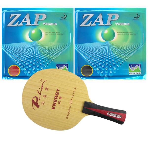 Palio ENERGY 03 Blade Long Shakehand-FL With 2x Yasaka ZAP 40mm BIOTECH H40-44 NO ITTF Rubbers 2015 Factory Direct Selling