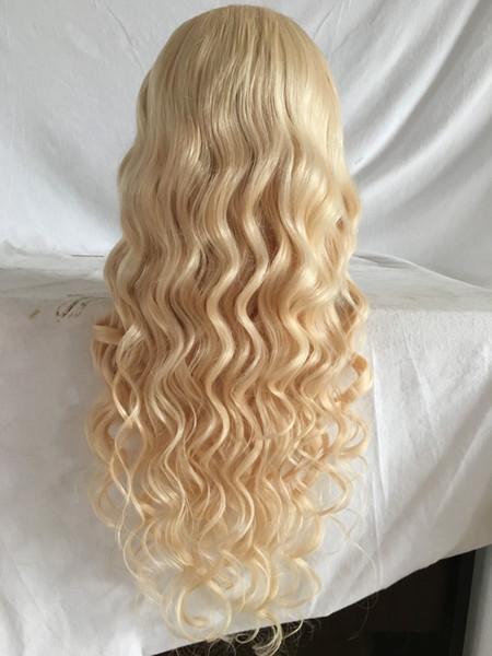Heiße brasilianische 613 # Blonde Jungfrau-Haar-volle Spitze-Perücke 100% mit Pony-lange blonde Menschenhaar-Perücke Glueless Spitze-Perücke mit dem Babyhaar Gute Qualität