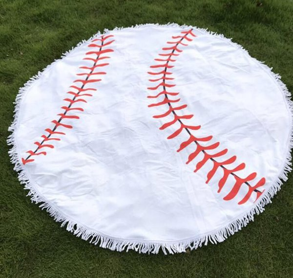 top popular diameter 150cm Baseball Softball Tapestry Beach Towel Round blanket with Tassel Beach Throw round Sports Yoga Mat 3 colors KKA4274 2019