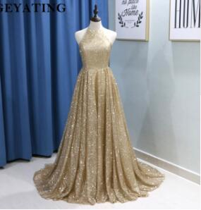 Sparkly Gold Champagne Sequin Prom Dresses Dubai Halter Off Shoulder Yousef Aljasmi Arabic Women Formal Evening Dress Long 2018
