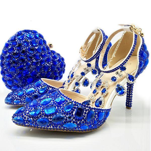 Royal Blue Frauen Kristall Brautkleid Schuhe mit Handtasche Herzform Schöne Kristall Fesselriemen Hochzeit Schuhe Passende Geldbörse
