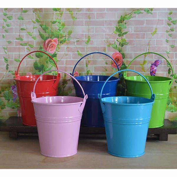 8 * 7,5 * 5,5 cm Mini Zinn Eimer Hängen Blumentopf Blume Anordnen Blumenkorb Hochzeit Candy Mini Eimer Pralinenschachtel Hochzeit Gefälligkeiten 0216
