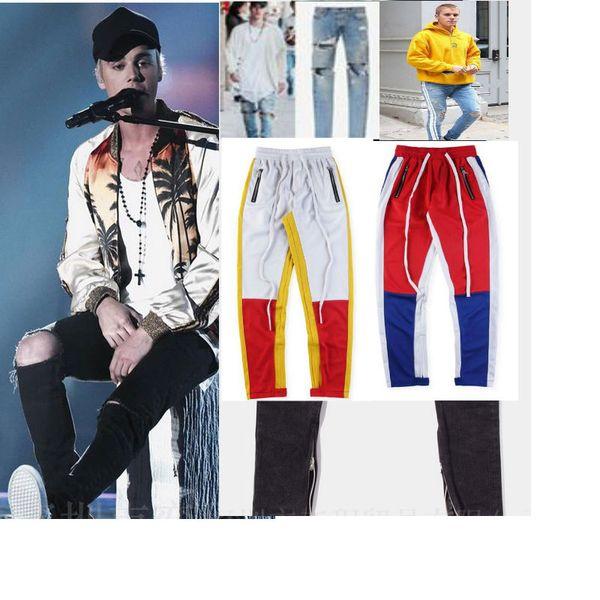 best selling Fear Of God KANYE Justin Bieber Men Jeans Ripped Jeans Blue Rock Star Mens Jumpsuit Designer Denim Male Pants