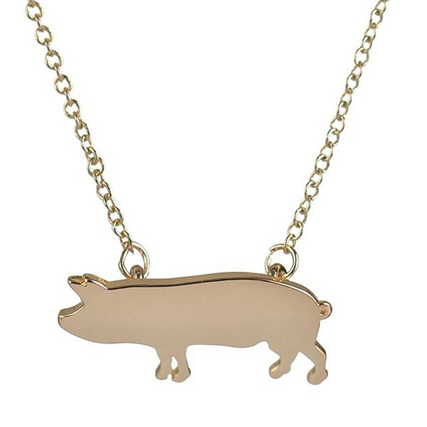 Wholesale 10Pcs 2016 New Cute Pig Tag Pendants Animal Pattern Necklaces Silver Gold-color Chain Women Kids Girls Love Gift