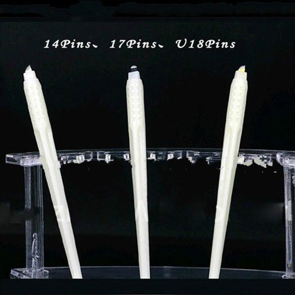 Großhandel hohe qualität 50 stücke permanent make-up weiße wegwerfmikroblading stifte mit 7/12/14/17/18 U pins nadeln stickerei klingen