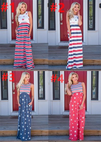 best selling Ins Printed Women's Sleeveless Dress 4 Colors Women Ladies Stars Stripe Independence Day Sleeveless Maternity Print Dresses