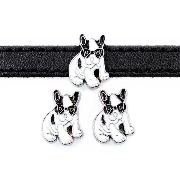 20pcs DIY accessory zinc alloy Cool Dog Slide Charm Bead DIY 8MM Dog Cat Collar Wristband