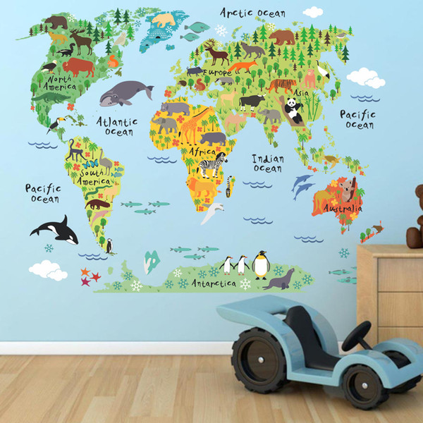 World Map Wall Stickers Cartoon Animals Pattern PVC Wallpapers Arts Murals Can Be Removable Self-adhesive Home Bedroom Background Decoration