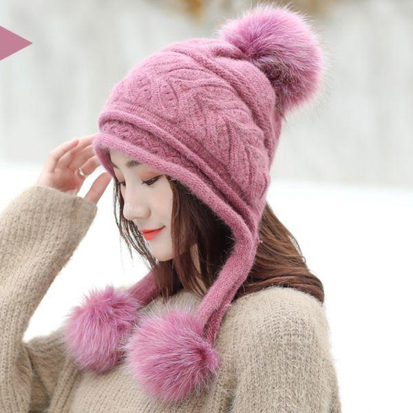 HT2121 Women Winter Earflap Hat Thick Warm Fleece Lined Knitted Hat Ladies Pompoms Skullies Beanies Female Rabbit Fur Ski Beanie