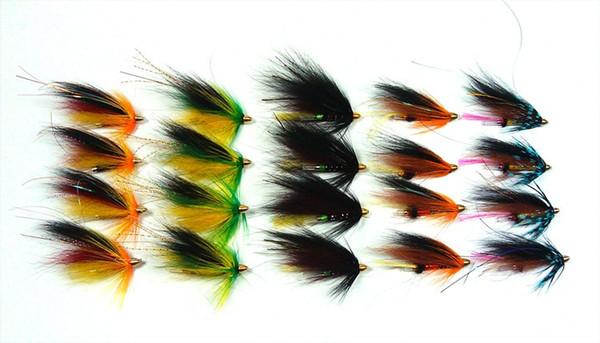 20Pcs Assorted Color Salmon Steelhead Fishing Tube Fly Combo Sea Bass Teasers Artificial Bait Fake Lure Blue Orange Black Green