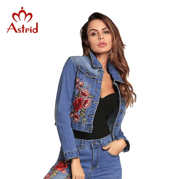Astrid Denim Jakcets Jacket Dark Blue Short Jaqueta Casual Ripped Jeans Estampado Abrigo de manga larga Chaqueta Casual 2018 nuevo 1123