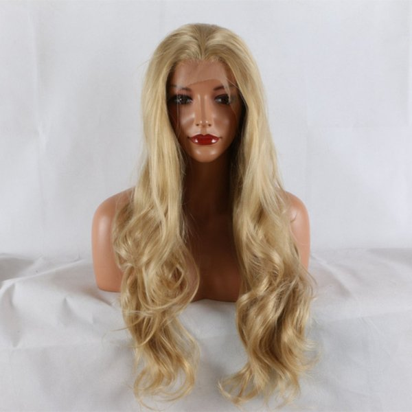 Synthetic Long Blonde Wig Half Hand Tied Long Wavy Heat Resistant Fiber Mixed Color Honey Blonde Synthetic Lace Front Wigs
