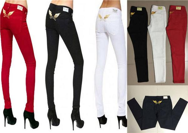 Mujeres Robins jeans Diseñador Straight Robins jeans Famosos diseños Estilo de moda Pantalones de alta calidad para mujer Pantalones pitillo delgados 3 colores