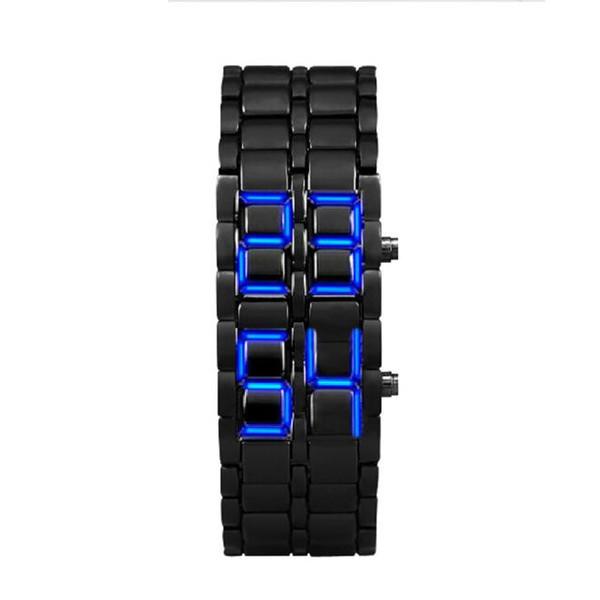 Style de lave Hommes Iron Samurai Bracelet noir à LED Japonais Inspiré Montre BLEU Cadran Unique LED Numérique Montre Hommes Sport Montres