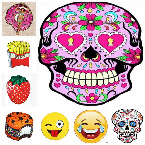 Polyester Round Beach Towel Sunscreen Women Bikini Cover Up Tapestry Yoga  Mat Skull Ice Cream Strawberry Emoji Pineapple 18 Designs YW352 Cotton