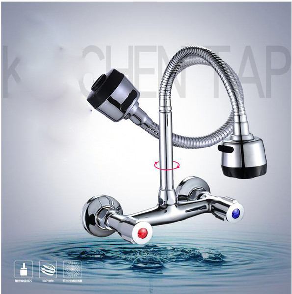 Wall Mounted Kitchen Faucet Hot & Cold Water Mixer Crane Dual Handle Dual Hole Kitchen Sink Tap Copper Chrome Plated