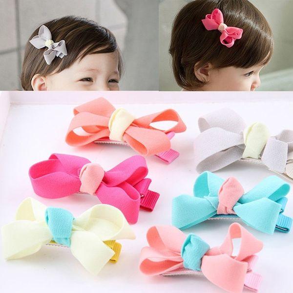 2Pcs Cute Baby Girl Chiffon Baby Bowknot Hairpin Hair Clip Headwear Party Grosgrain Gauze Barrette Gifts for Children's Birthday
