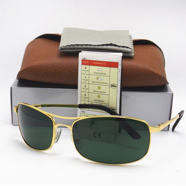 1PCS Best Selling Fashion Rectangle Classic Brand Designer Sunglasses For Mens Womens Eyewear Sun Glasses 60mm Gold Frame Green Glass Lenses