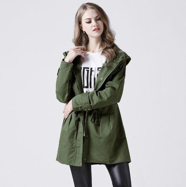 Nova Primavera Outono Trench Coat Mulheres Causal das mulheres com capuz longo casaco Exército Verde Casaco Feminino Casacos Feminino