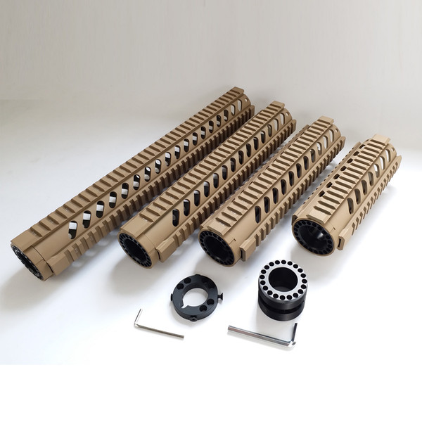 7,10,12,15 inch Free Float Quad Rail AR15 Handguards Tan color with Front End Cap Fits .223 556