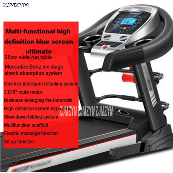 top popular T900 Family Treadmill Folding Multi-Function Mercedes Six Class Damping System Indoor Electric Treadmill Speed 0.8-14km h 2019