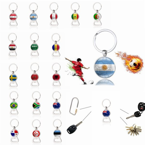 World Cup Football Beer Bottle Opener Keychain with Flag Soccer Fans Decor Souvenir Gift Key Holder FFA223 17Styles 120pcs
