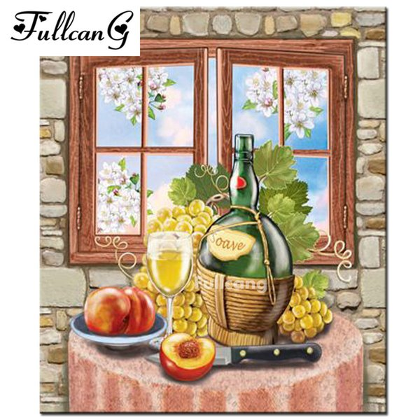 FULLCANG DIY Diamond Embroidery Fruit And Wine 5D Diamond Painting Cross Stitch Mosaic Pattern Full Square Rhinestone F374