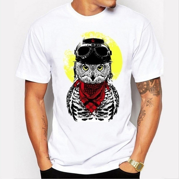 Summer men 's fashion T - shirt personality cartoon owl printing leisure simple short - sleeved table white T - shirt