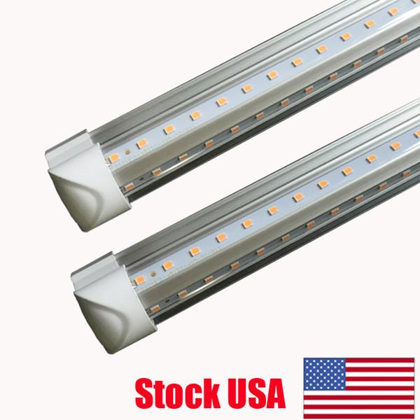 V-Shaped 2ft 3ft 4ft 5ft 6ft 8ft Cooler Door Led Tubes T8 Integrated Led Tubes Double Sides Led Lights fixture Stock In USA