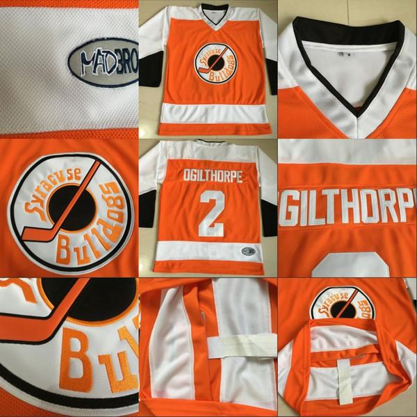 Slap Shot Movie Jerseys Ogie Ogilthorpe Mens 100% Stitched Ice Hockey Jerseys #2 Ogie Ogilthorpe Syracuse Bulldoges Jersey Free Shipping