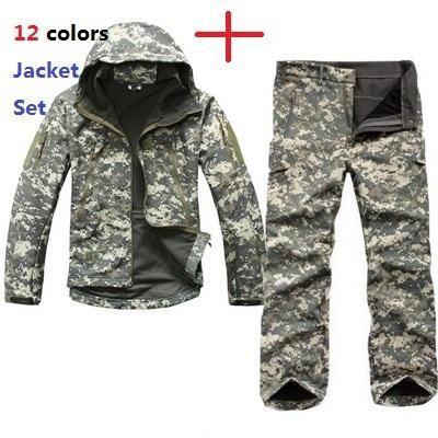 Tactical TAD Gear Soft Shell Camouflage Outdoor Jacket Set Men Army Sport Waterproof Hunting Clothes ACU Military Jacket + Pants Y1893006