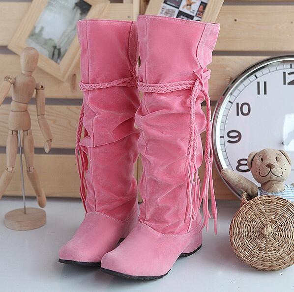 hot selling ladies mid calf boots round toe height increasing boots snow boots for winter tassel flock leather zx821