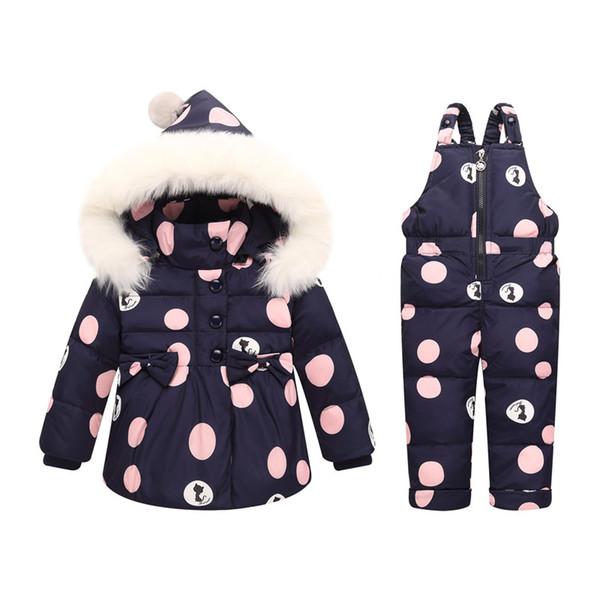 Güzel Kış Bebek Kız Giyim Setleri Sıcak Çocuk Aşağı Ceketler Çocuklar Snowsuit Bebek Kayak Takım kızın Aşağı Ceketler Kabanlar Coat + Pantolon
