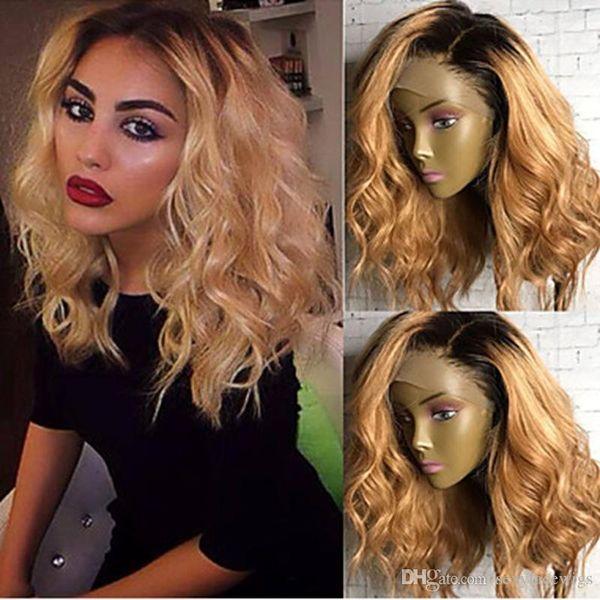 Hohe Qualität Zwei Töne 1b / 27 # Ombre Blonde Kurze Lockige Wellenförmige Günstige Perücken Hitzebeständige Glueless Synthetische Lace Front Perücken für Schwarze Frauen