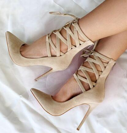 2018 Hot Spring Luxury Women Sexy Red/Beige Cuts Out Pointed Toe Zip Back Lace Up Mid-calf Short Boots Booties Suede Pumps