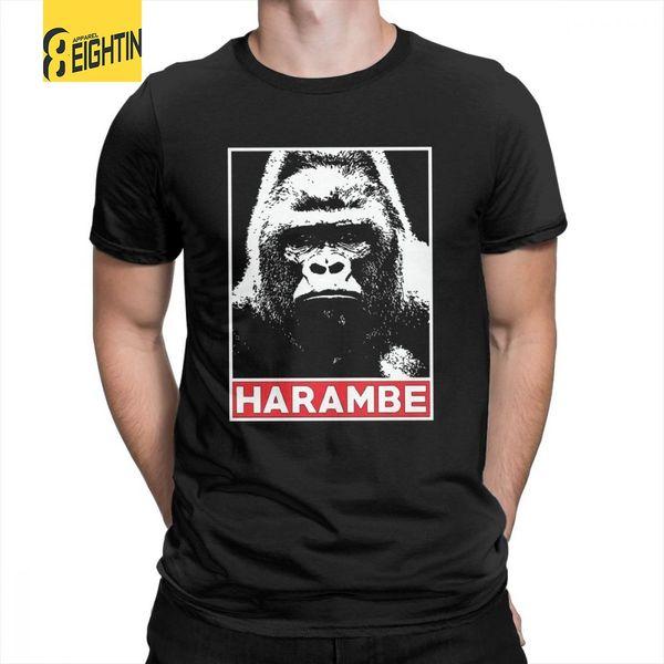 Harambe горилла любовник футболки мужские аниме с коротким рукавом футболка очищенный хлопок круглый вырез горячей продажи футболки стильный плюс размер
