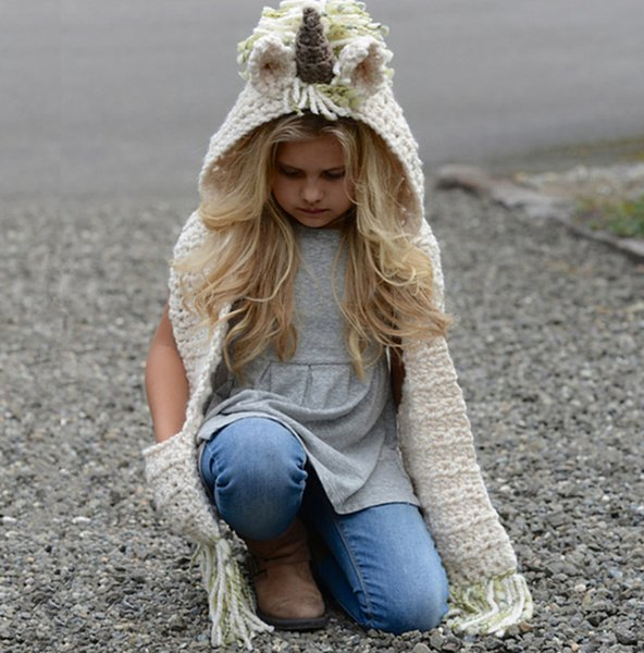 Winter anime cosplay unicorn hat children crochet cartoon unicorn hat with scarf hooded knitting holloween costume for kids A01157