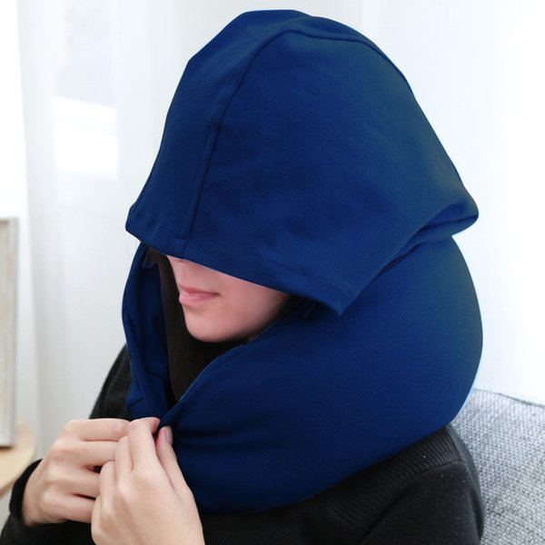 Travel Pillow With Hat New Soft Hooded U-Shape Neck Pillow Travel Office Nap Car Airplane Sleep Travel Neck Cushion