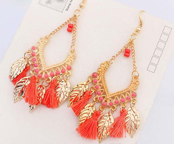 2018 Hot sales Tassel chandelier earrings jewelry fashion women bohemia colorful feathers gold plated chains tassels long dangle earings