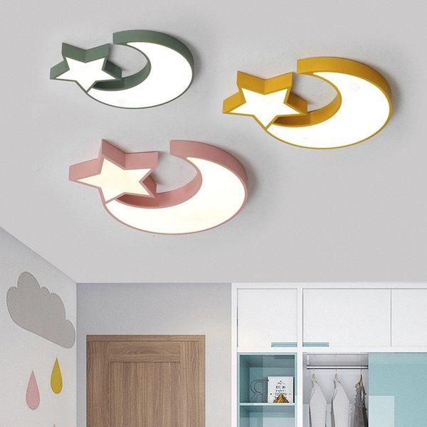 Großhandel Nordic Minimalist Kreative Star Moon Deckenleuchte LED  Kinderzimmer Licht Schlafzimmer Farbe Macarons Fernbedienung Wohnzimmer  Lampe Von ...