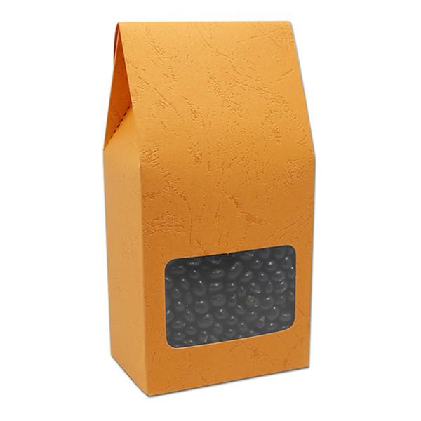 DHL 150 Adet Kabartmalı Çok renkler Kraft Kağıt Paketi Kutuları Katlanabilir Hediyeler Saklama Kutusu Clear Pencere Ile Karton Kutu Stand Up