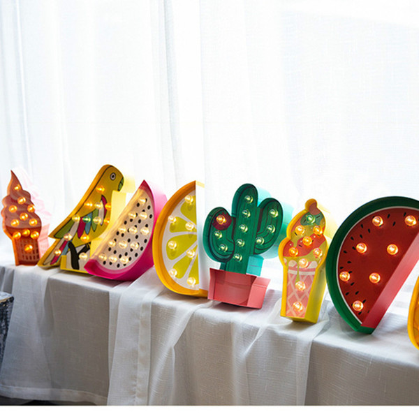 2019 Warm Light Lamps LED Night Light Marquee Sign  Icecream/Pineapple/Parrot/Dragon Fruit/Watermelon/Lemon/Cactus Table Lamp  For Party Wedding From