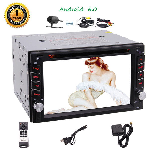 "Quad Core 6.2"" Android 6.0 Car Stereo Multi-touch Screen Double 2DIN RadioFull Touchscreen Navigation Map Card Car DVD CD Player Remote"
