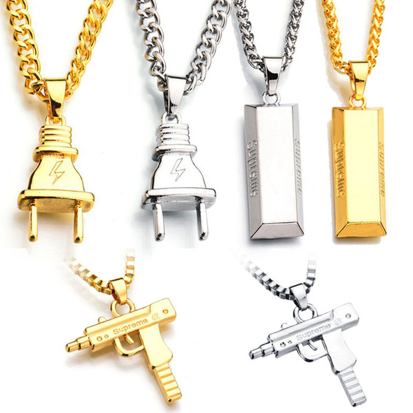 best selling Plug Gold Bar SUP LOGO Charm Statement Necklaces & Pendants Hip Hop Jewelry Long Chains 18K Gold Plated Mens Necklaces