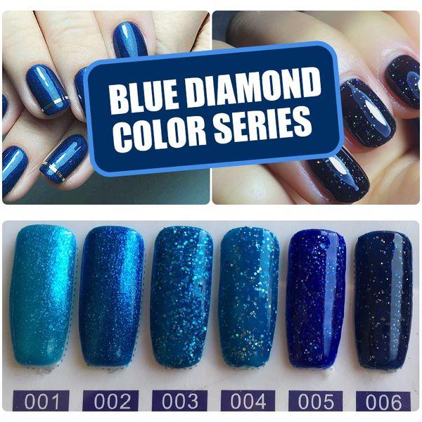 YIFEI Bling Glitter UV Gel Nail Polish Diamond Sequins Gel Varnish Professional Gelpolish Blue Color Glitter Nail Art Paint