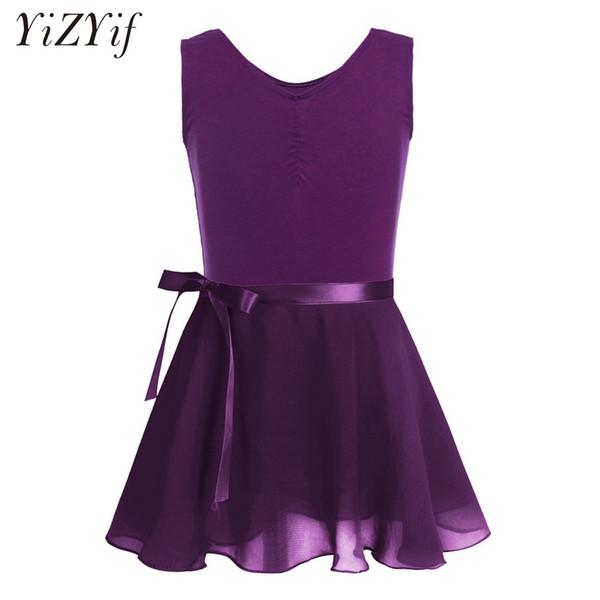 YiZYiF Children Girl Chiffon Dancing Ballet Dress Ballerina Fairy Dancewear Party Costumes Gymnastics Leotard with Tied Skirt