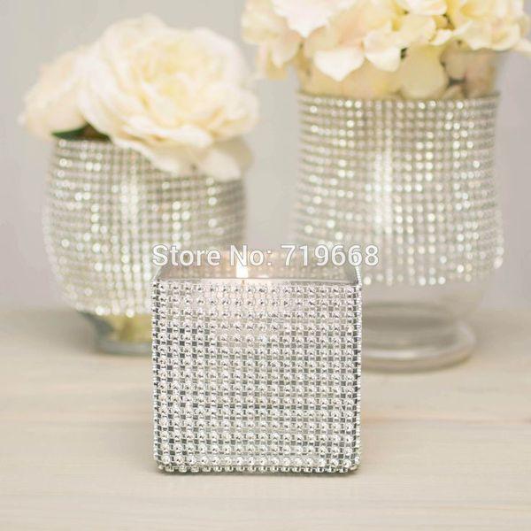 "Hot Sale 4 .75 ""X15 Ft (5yards )24rows Diamond Mesh Ribbon Roll Rhinestone Sparkling Wedding Party Home Decor"