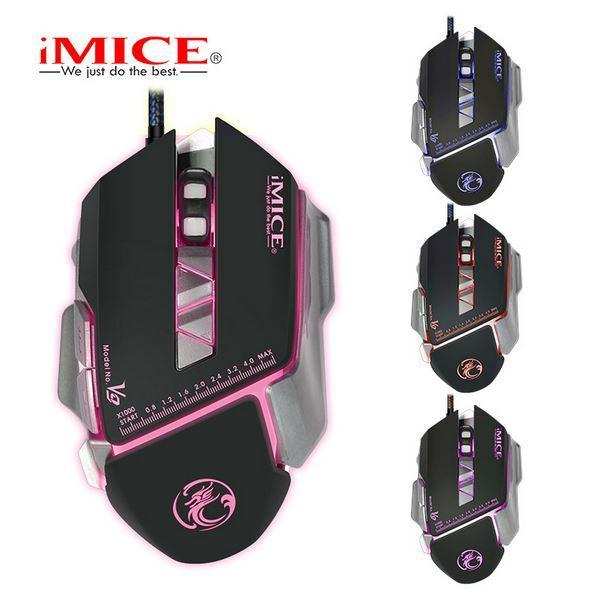 IMICE V9 Wired Spiel E-Sport Maus mit professionellen Spiel-Chip Vier-Farben-Licht PUBG Maus Makro Benutzerdefinierte Programmierung Aggravated Mouse 7 Keys
